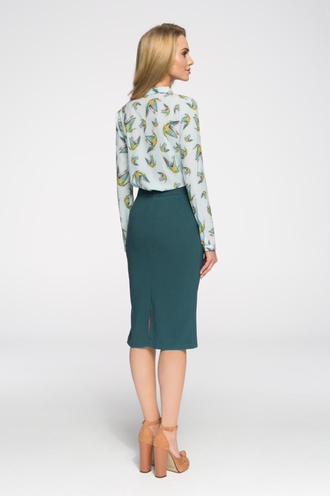 CM2714 Biurowa spódniczka ze złotymi zamkami - zielona
