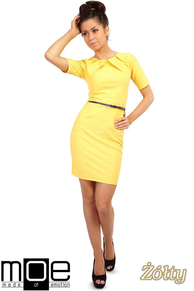 CM0219 Klasyczna elegancka sukienka ołówkowa - żółta OUTLET
