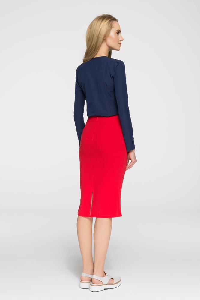 CM2714 Biurowa spódniczka ze złotymi zamkami - czerwona