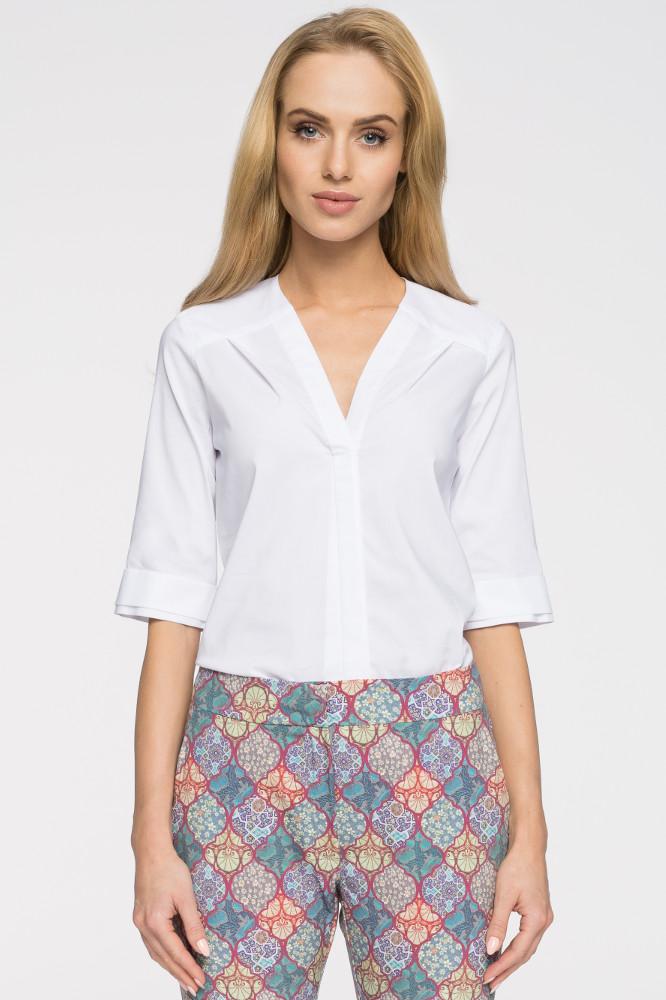 CM2716 Gładka bluzka z głębokim dekoltem - biała