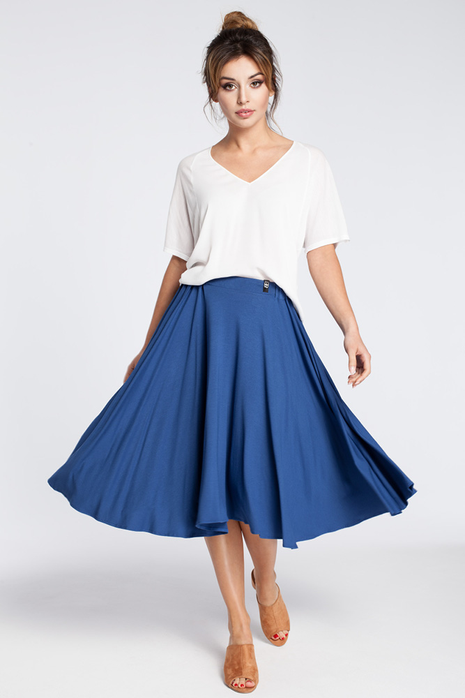 CM3034 Rozkloszowana spódnica midi - niebieska