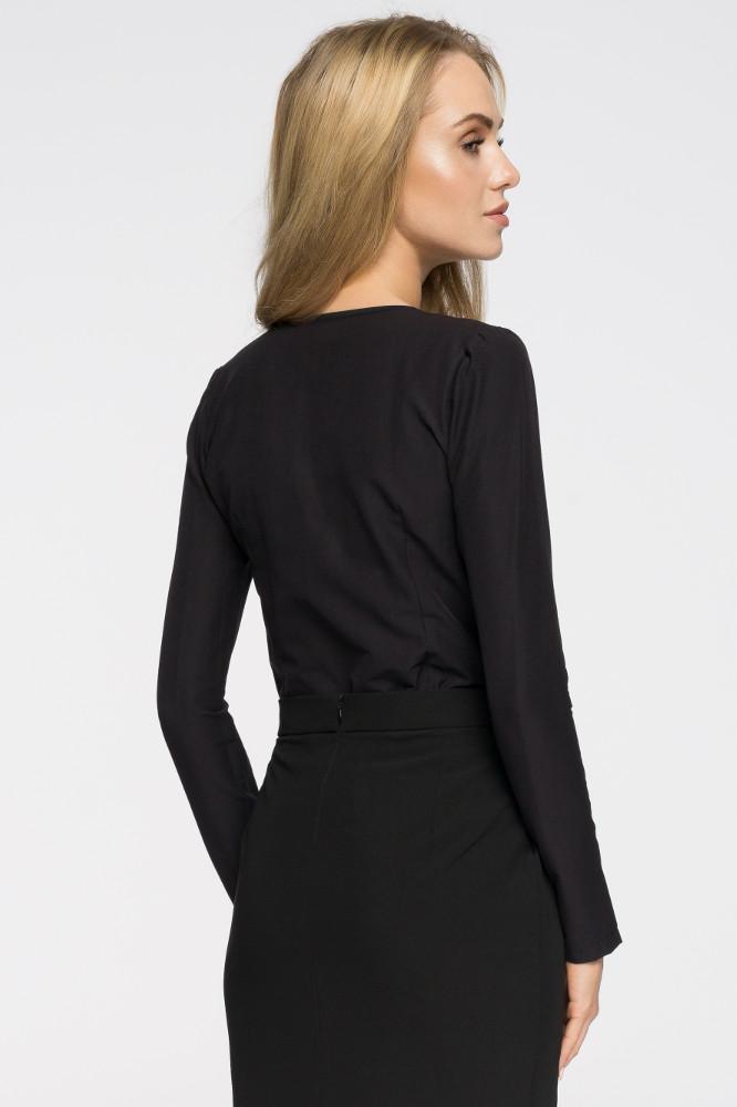 CM2719 Elegancka bluzka z wiązaniem przy dekolcie - czarna
