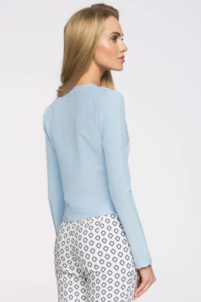 CM2719 Elegancka bluzka z wiązaniem przy dekolcie - błękitna
