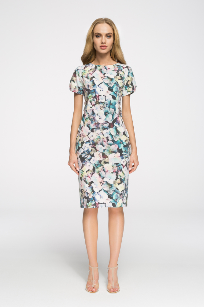 CM2724 Klasyczna sukienka do kolan we wzory - model 1