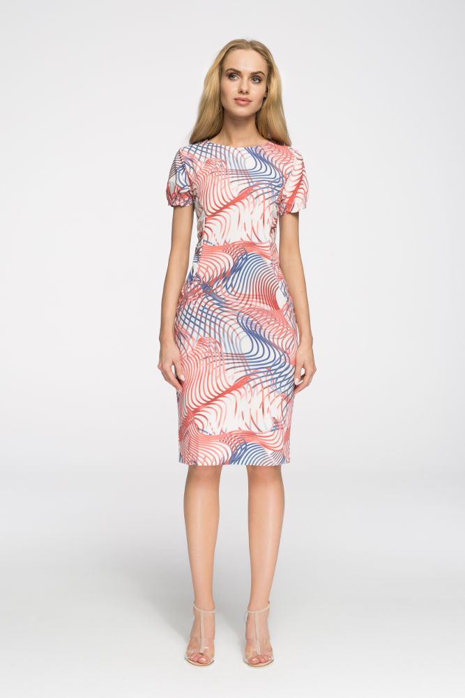 CM2724 Klasyczna sukienka do kolan we wzory - model 2