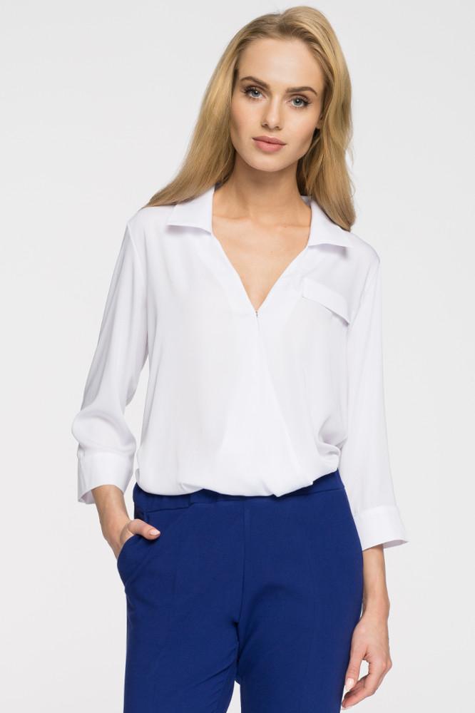 Genialny Elegancka bluzka koszulowa z głębokim dekoltem - biała - Cudmoda DR12