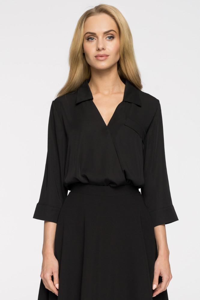 CM2690 Elegancka bluzka koszulowa z głębokim dekoltem - czarna