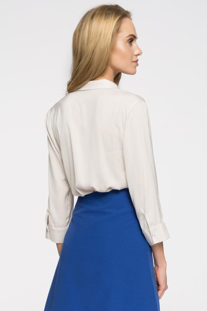 CM2690 Elegancka bluzka koszulowa z głębokim dekoltem - beżowa
