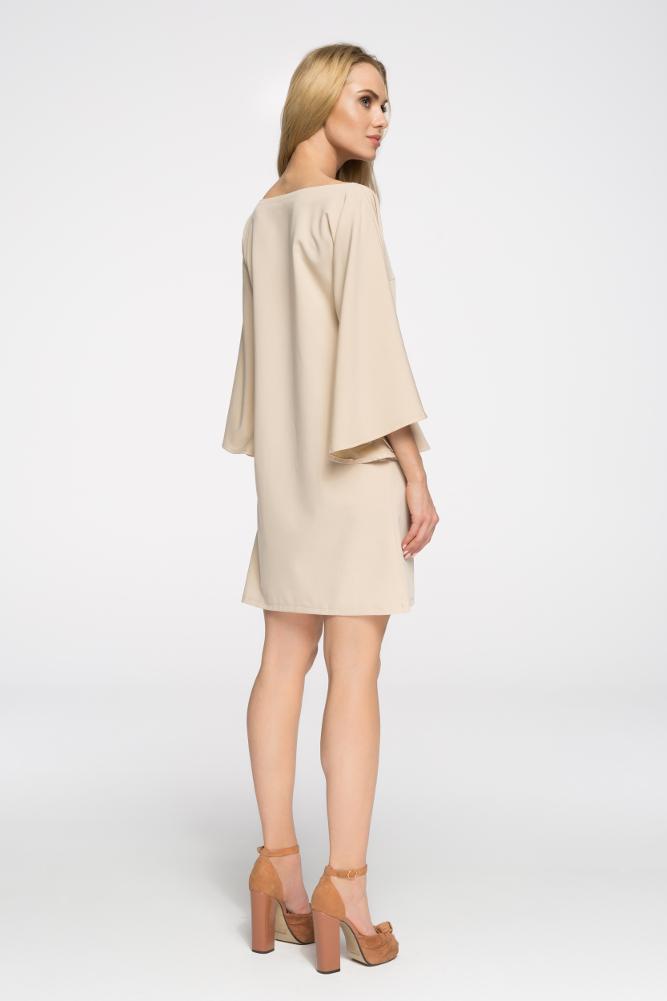 CM2693 Sukienka nietoperz oversize - beżowa