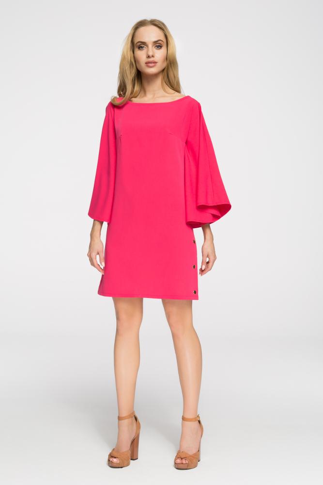CM2693 Sukienka nietoperz oversize - różowa