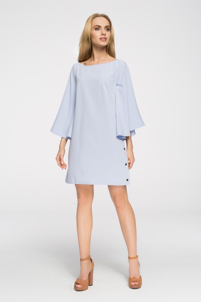 CM2693 Sukienka nietoperz oversize - błękitna