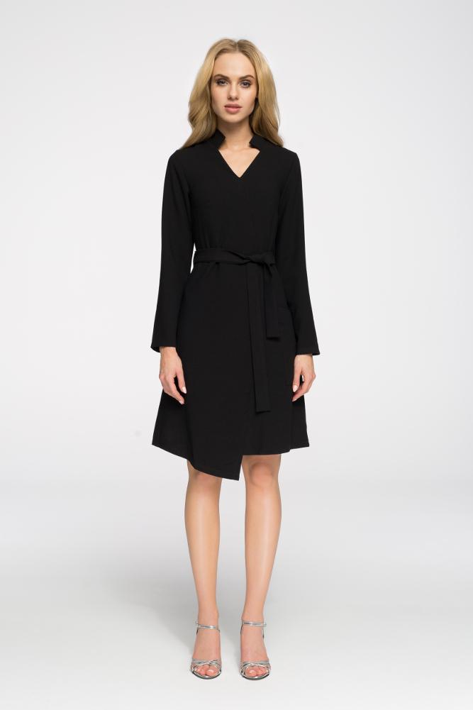 CM2696 Przewiązana sukienka z długim rękawem - czarna