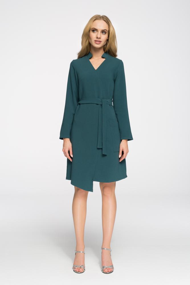 CM2696 Przewiązana sukienka z długim rękawem - zielona