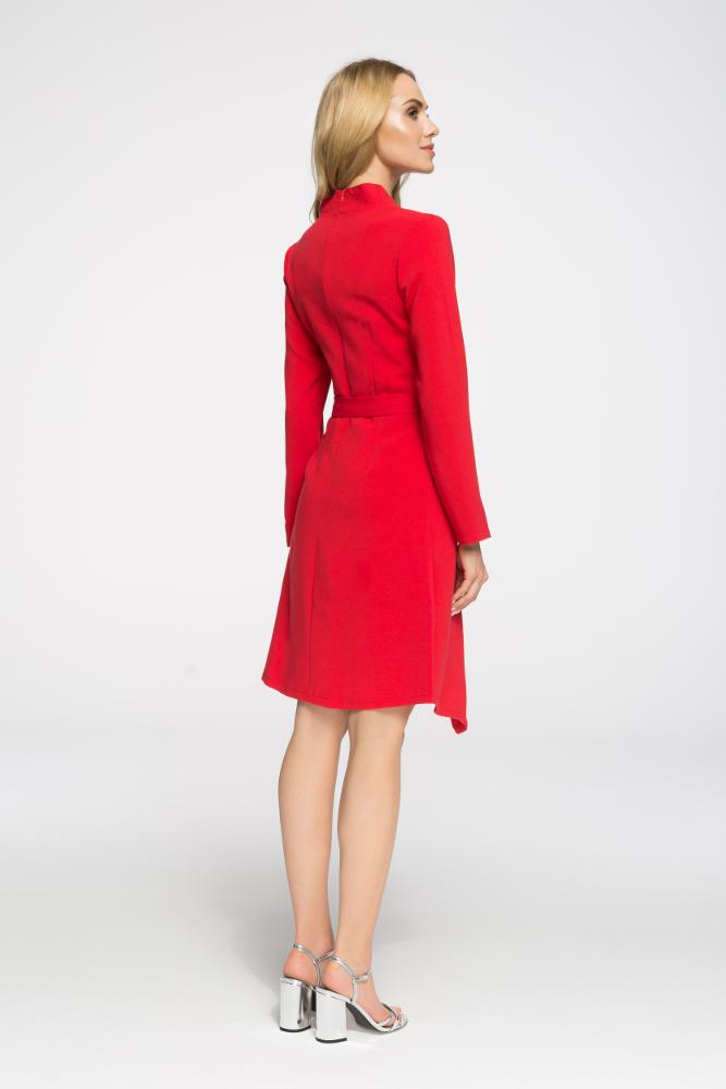 CM2696 Przewiązana sukienka z długim rękawem - czerwona