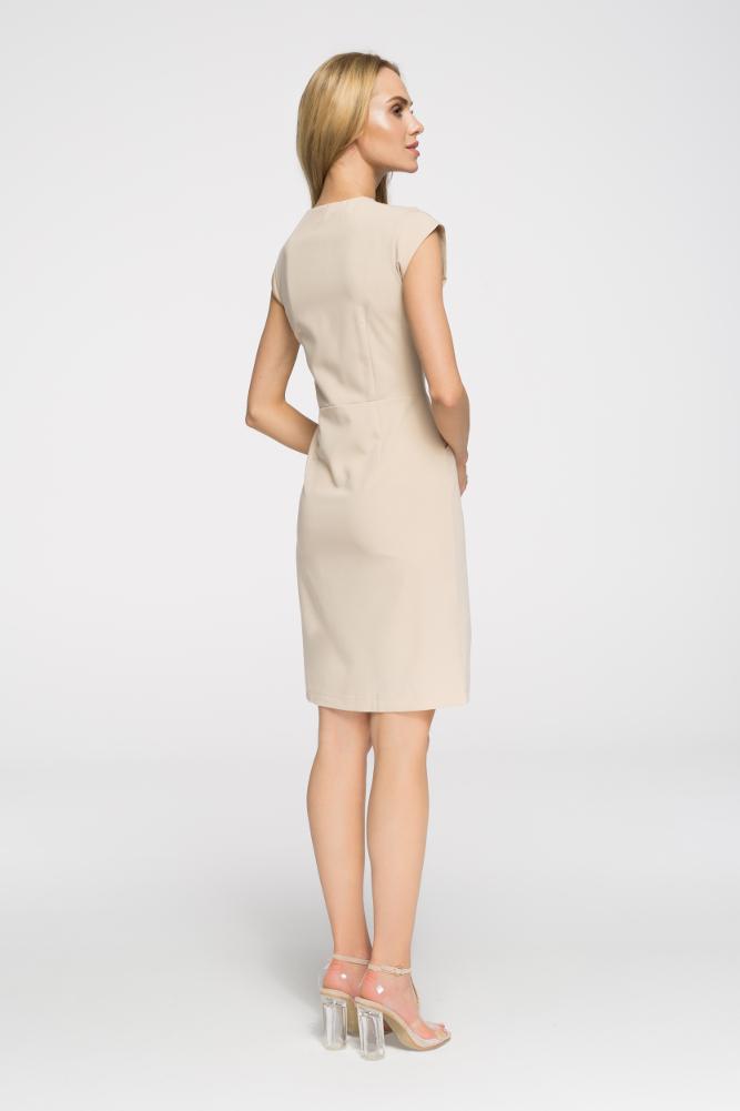 CM2697 Prosta taliowana sukienka z zamkiem - beżowa