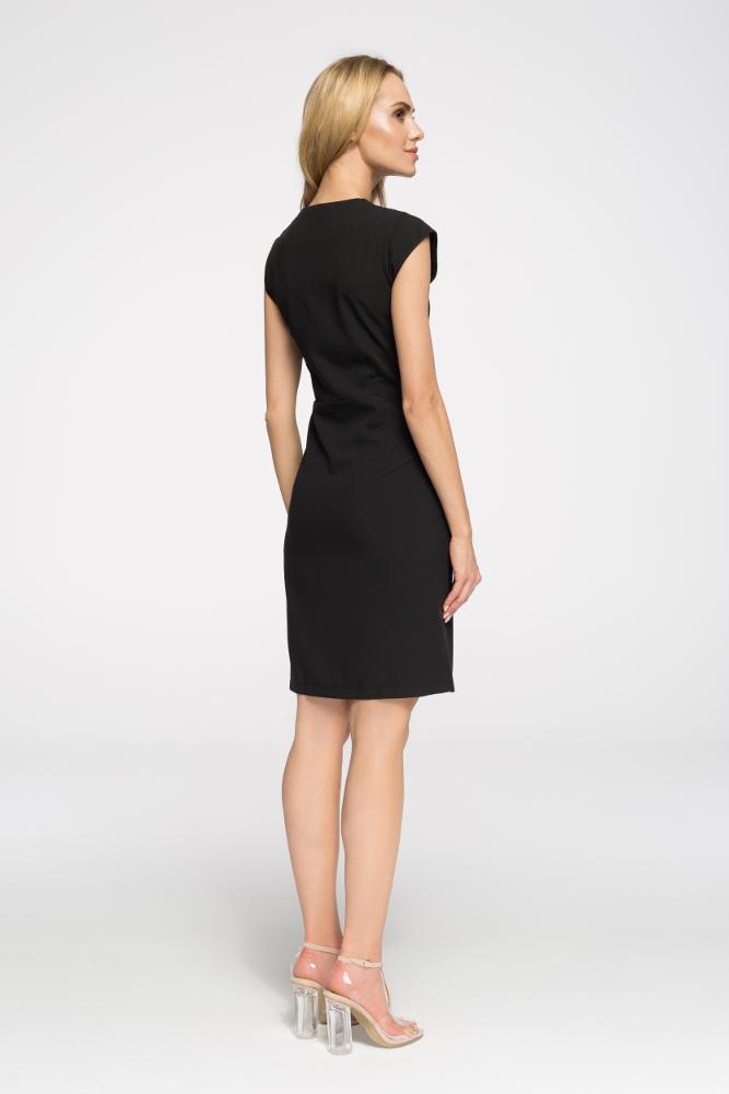CM2697 Prosta taliowana sukienka z zamkiem - czarna