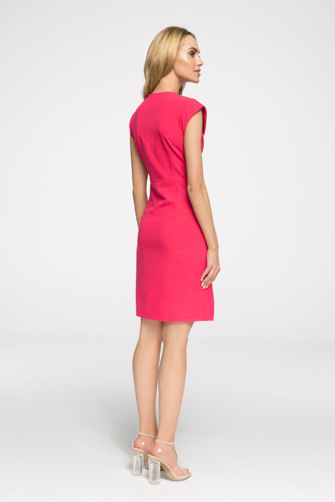 CM2697 Prosta taliowana sukienka z zamkiem - różowa