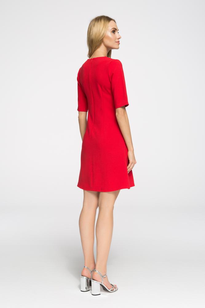 CM2676 Taliowana sukienka do pracy - czerwona