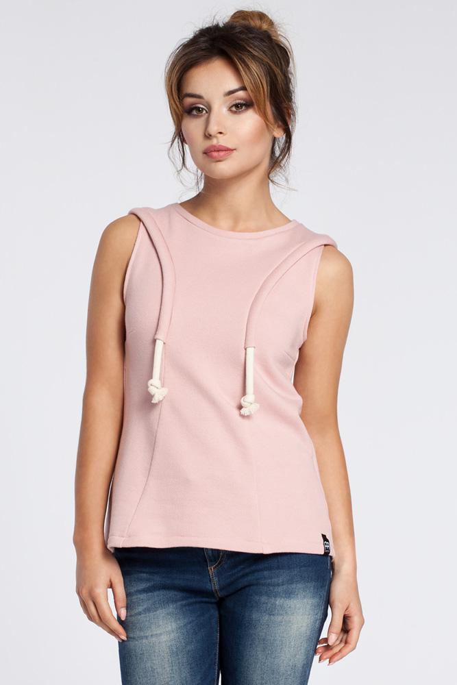 CM3037 Zwiewna bluzka bez rękawów - różowa