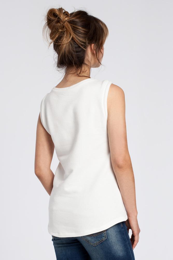 CM3037 Zwiewna bluzka bez rękawów - ecru