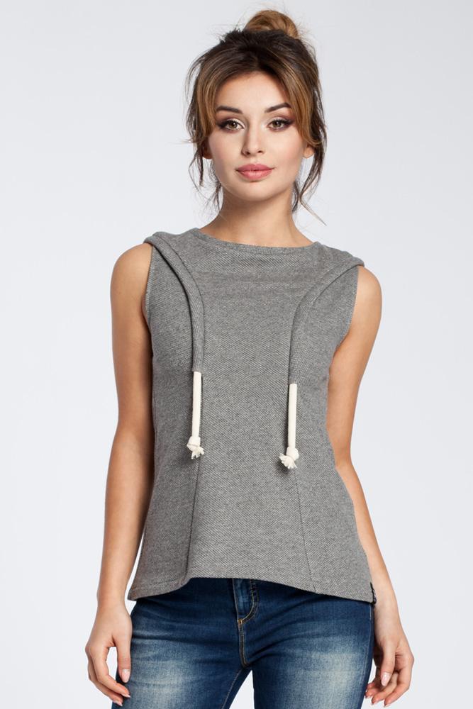 CM3037 Zwiewna bluzka bez rękawów - szara