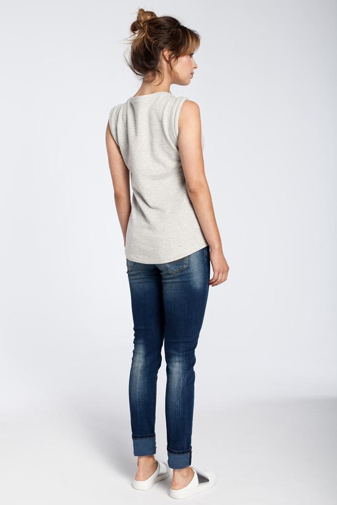 CM3037 Zwiewna bluzka bez rękawów - popielata