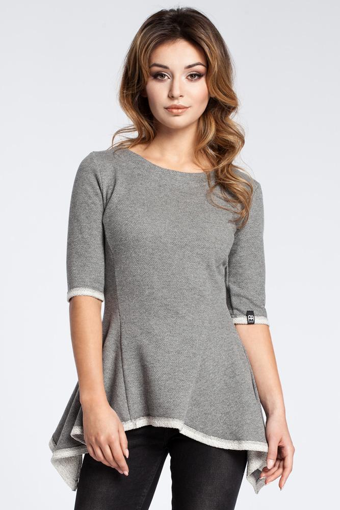 CM3038 Kobieca bluzka baskinka - szara OUTLET