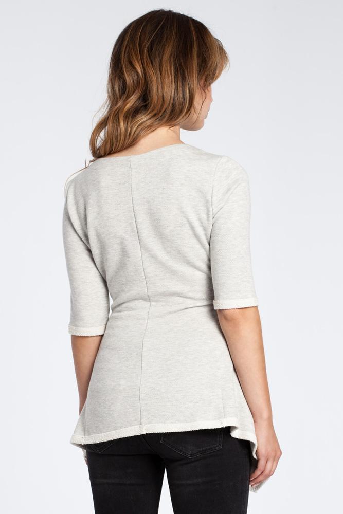 CM3038 Kobieca bluzka baskinka - popielata
