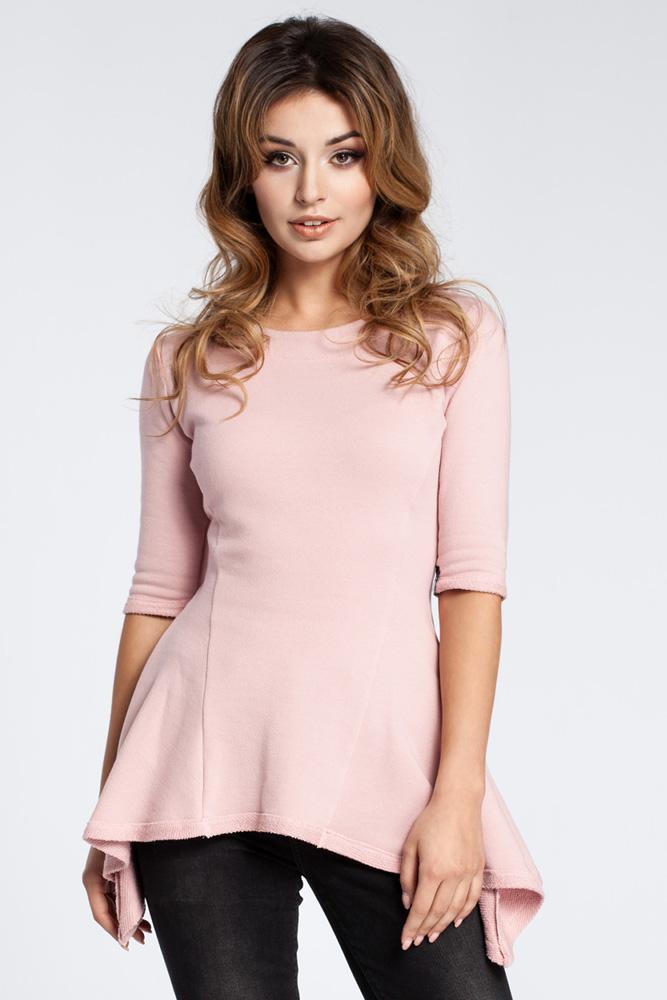 CM3038 Kobieca bluzka baskinka - różowa OUTLET