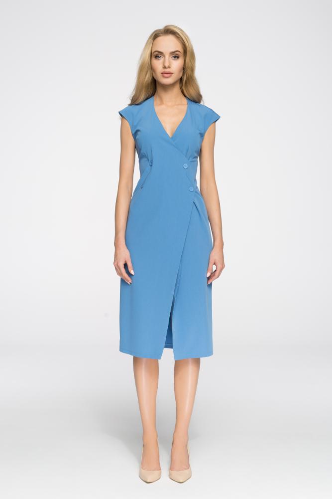 CM2894 Nowoczesna sukienka z ozdobnymi guzikami - niebieska