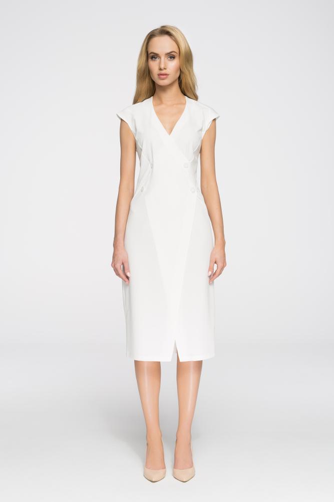 CM2894 Nowoczesna sukienka z ozdobnymi guzikami - ecru