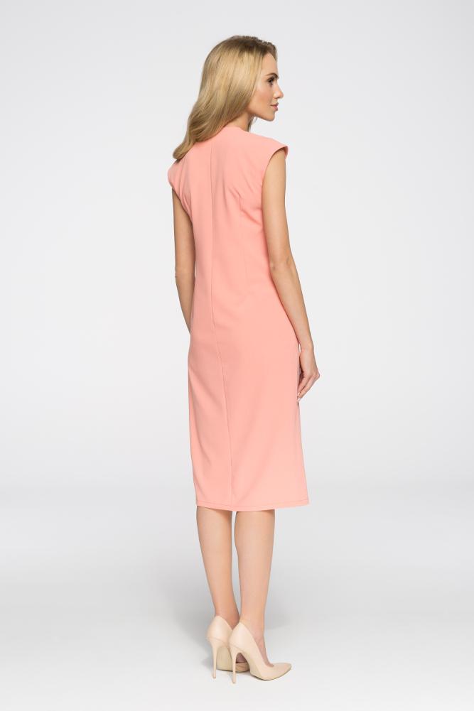 CM2894 Nowoczesna sukienka z ozdobnymi guzikami - łososiowa