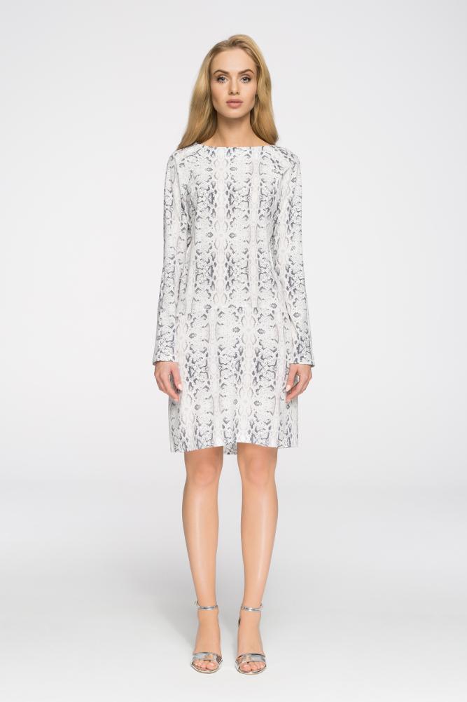 CM2898 Biurowa sukienka z motywem