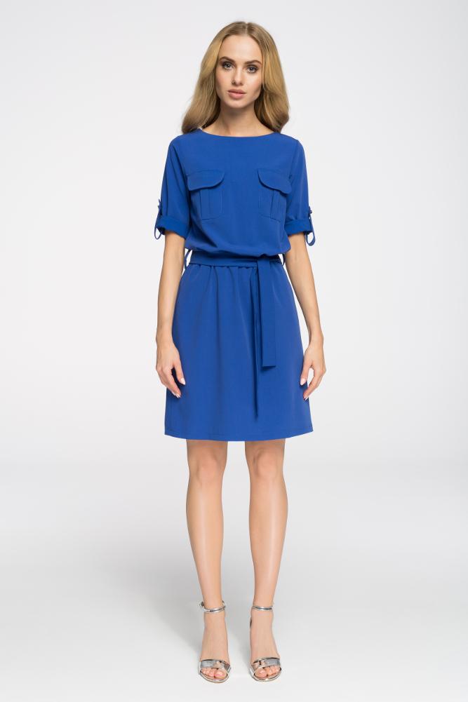 CM2678 Odcinana sukienka mini z kieszeniami - chabrowa