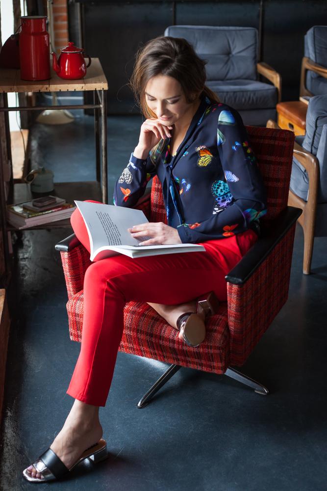 CM2692 Klasyczne proste spodnie damskie - czerwone