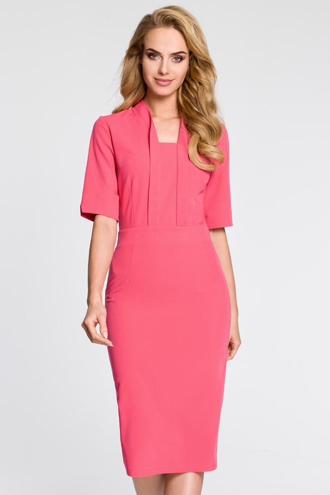 CM3041 Sukienka ołówkowa z dekoltem szalowym - różowa