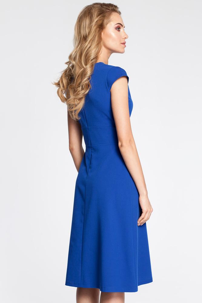 CM3043 Sukienka z szerokim paskiem - chabrowa