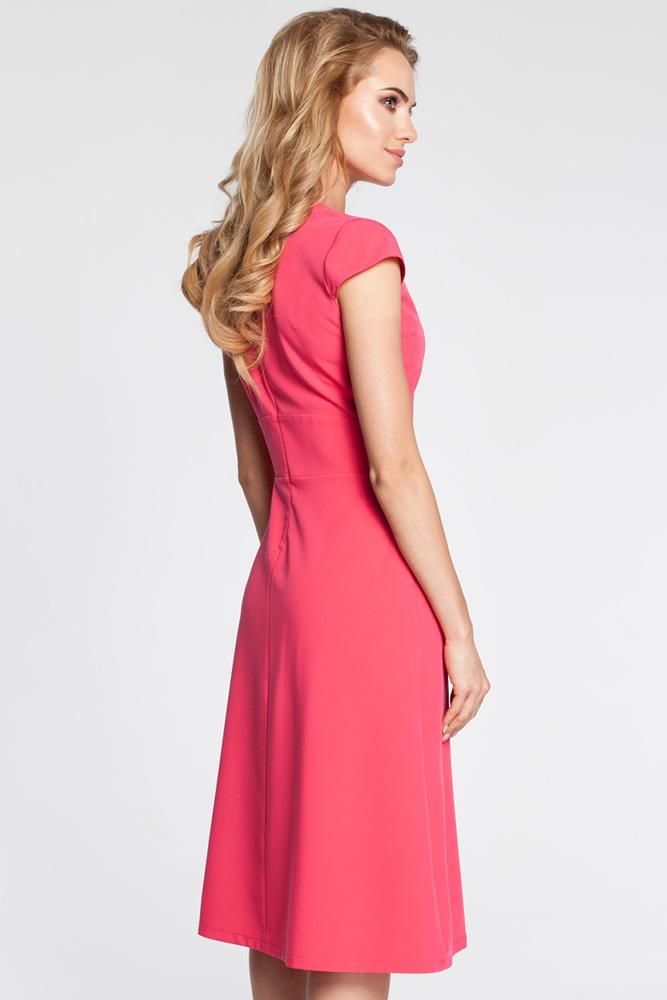 CM3043 Sukienka z szerokim paskiem - różowa
