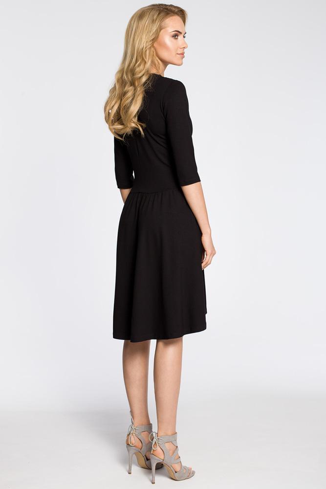 CM3045 Sukienka z marszczonym rozkloszowanym dołem - czarna