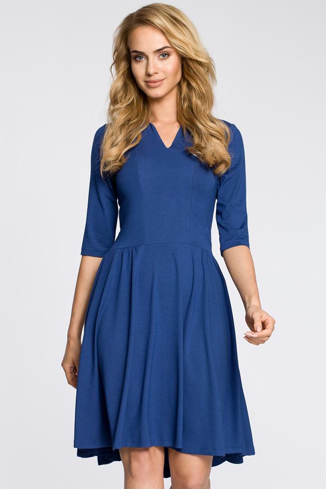 CM3045 Sukienka z marszczonym rozkloszowanym dołem - niebieska