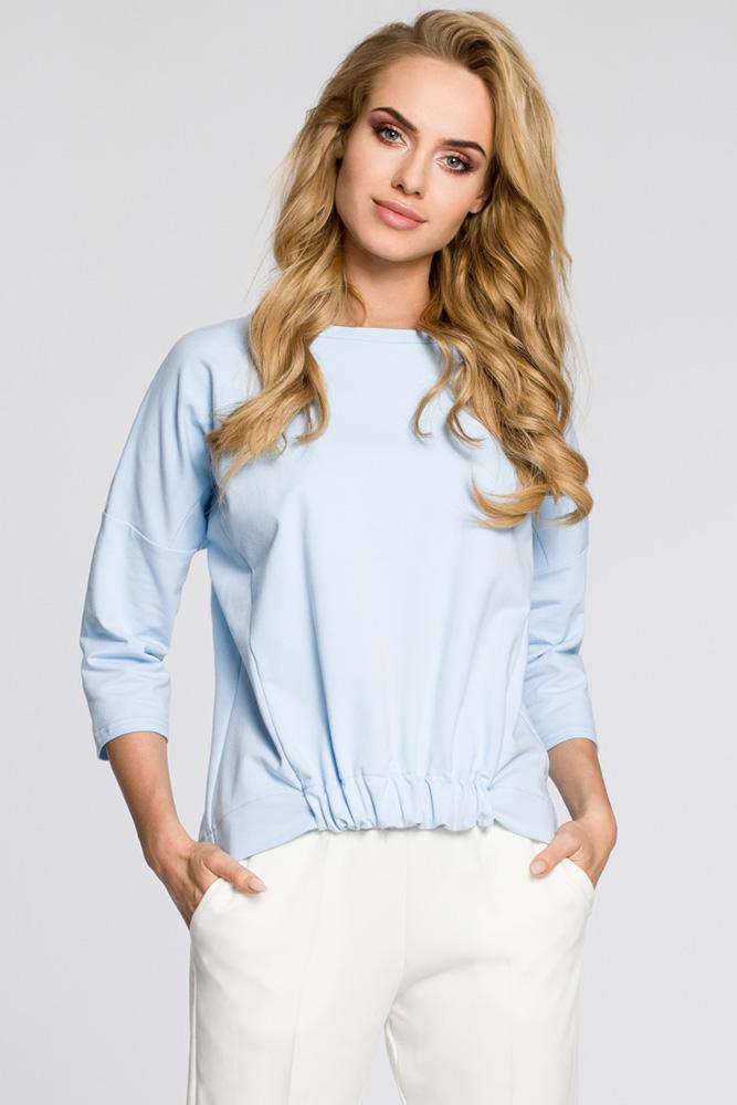 CM3046 Luźna bluzka z rękawami typu nietoperz - błękitna