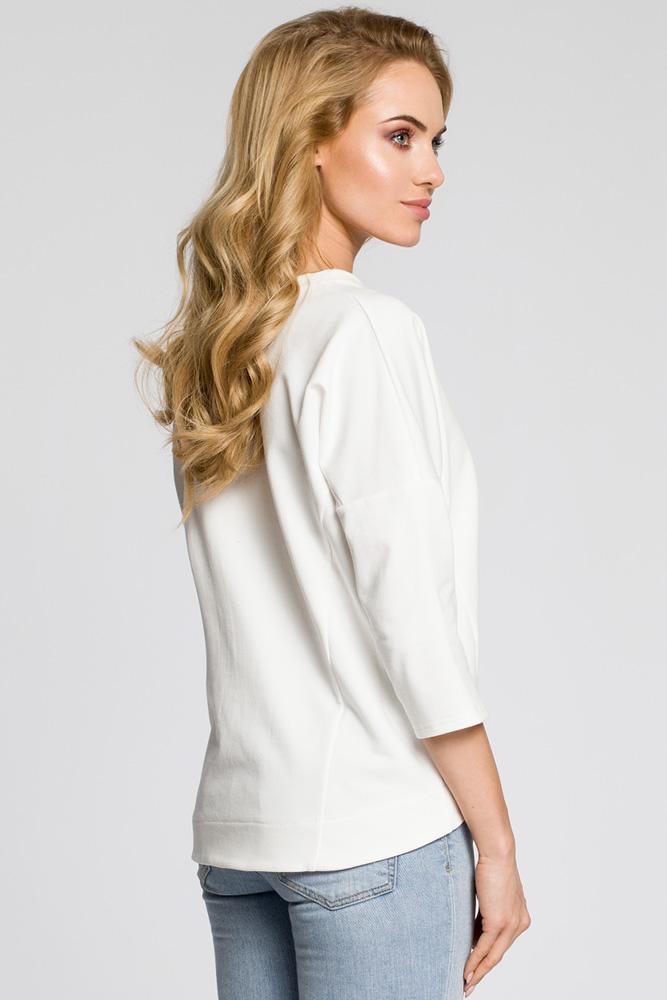 CM3046 Luźna bluzka z rękawami typu nietoperz - ecru
