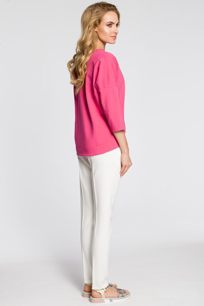 CM3046 Luźna bluzka z rękawami typu nietoperz - różowa
