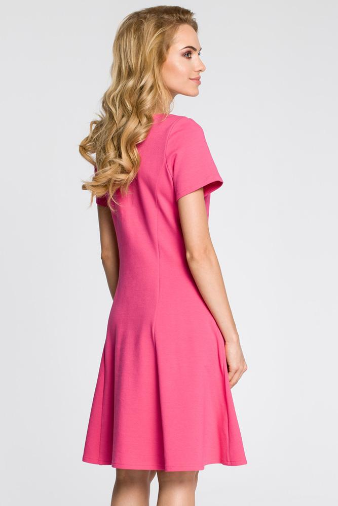 CM3047 Stylowa sukienka z krótkim rękawem - fuksja