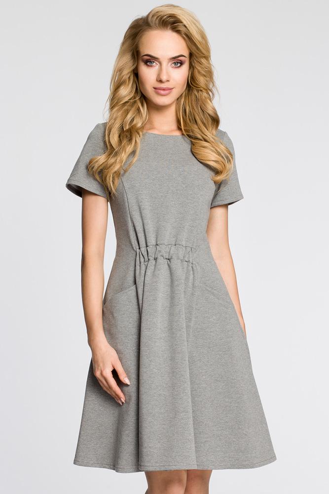 CM3047 Stylowa sukienka z krótkim rękawem - szara