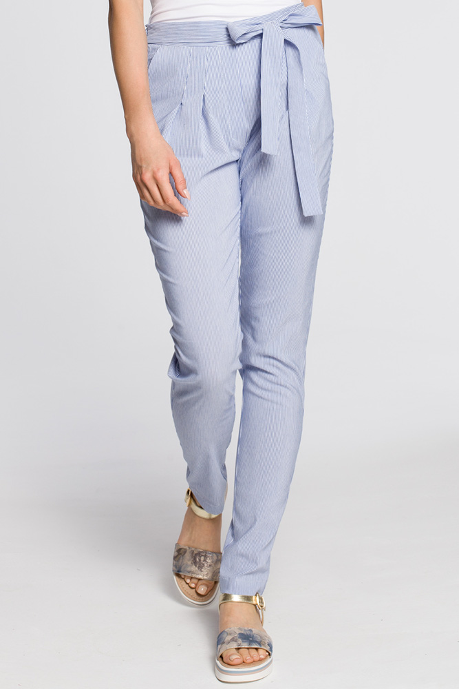 CM3049 Spodnie chinosy z szarfą w pasie - niebieskie