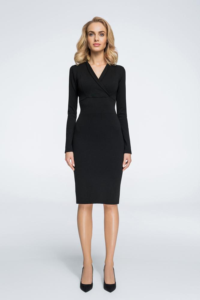CM3053 Ołówkowa sukienka z dekoltem na zakładkę - czarna