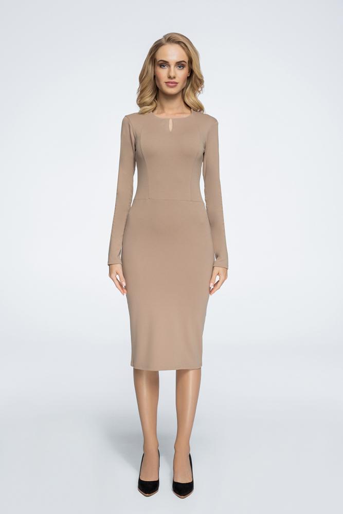 CM3054 Sukienka z cięciami i opuszczonym ramieniem - beżowa