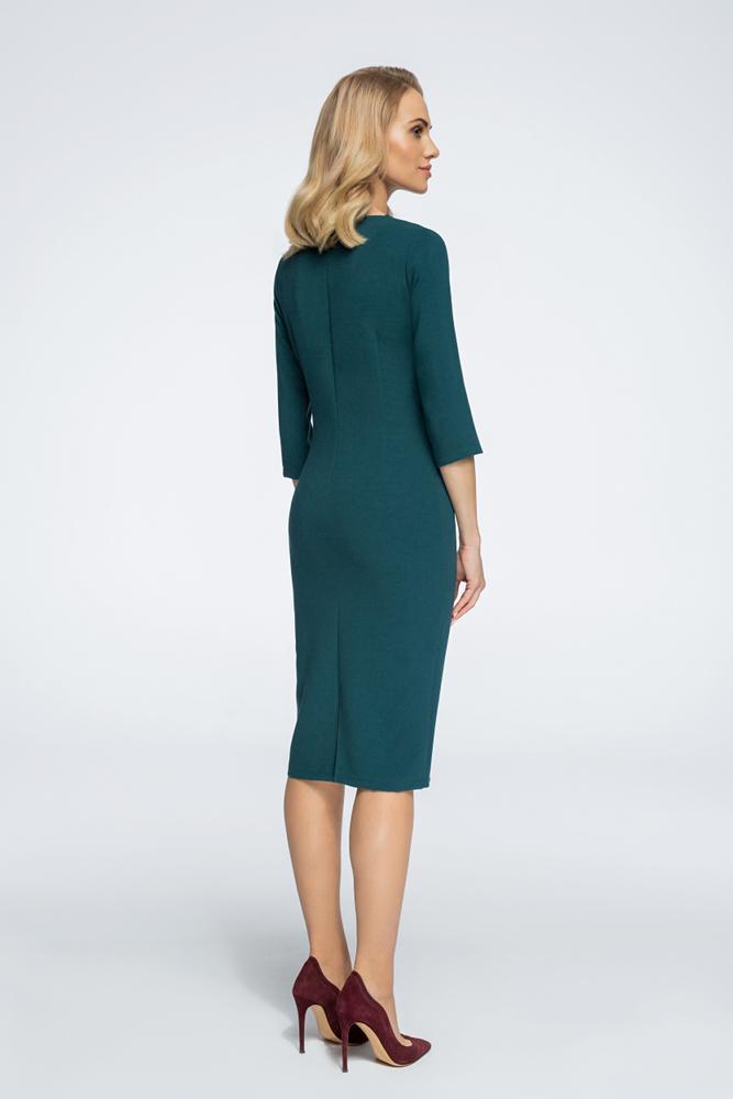 CM3055 Stylowa sukienka z bolerkiem - zielona