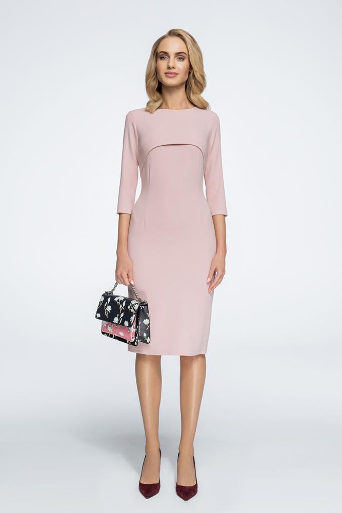CM3055 Stylowa sukienka z bolerkiem - pudrowa